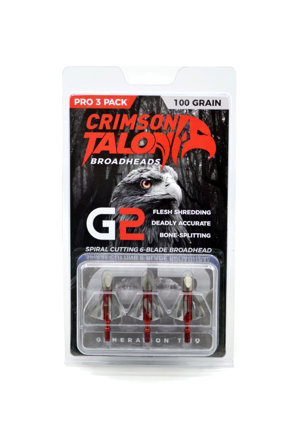 pack of three Crimson Talon G2 Spintite 100 grain broadheads