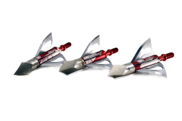three Crimson Talon G2 Spintite 125 grain broadheads